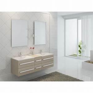 Prix Meuble Salle De Bain : meuble salle de bain double vasques coloris pin achat vente salle de bain complete meuble ~ Teatrodelosmanantiales.com Idées de Décoration