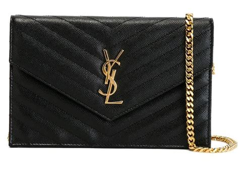 saint laurent monogram envelope  ysl quilted logo flap purse black gold leather cross body