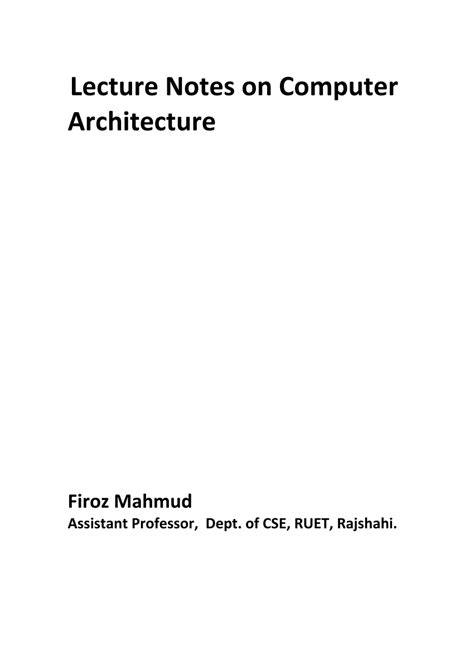 (PDF) Lecture Notes on Computer Architecture