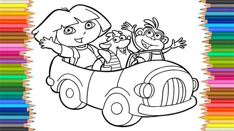 coloring page dora coloring markers    children
