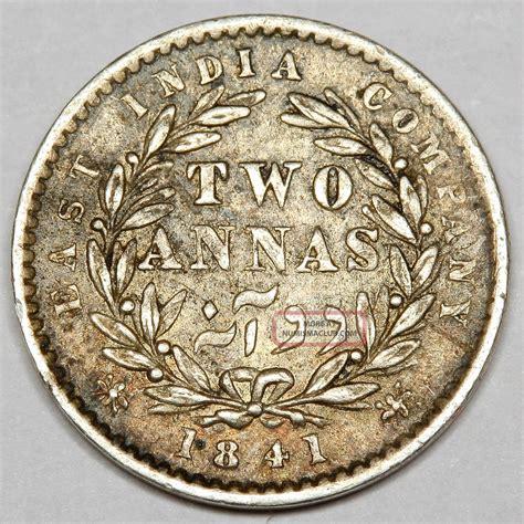 1841 Queen Victoria India Silver Two Annas 2 Annas Coin