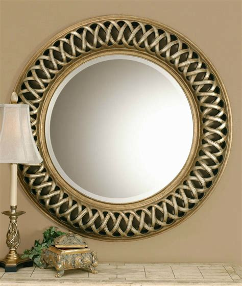 """Add a modern touch to your wall with this round framed mirror.this wall mirror makes both a functional and decorative impact in any space.its innovative metal frame makes it more durable than a typical wall mirror, and gives it a modern, industrialized look.its reflective surface helps to attract natural and artificial light, instantly making. NEW LARGE 45"""" ROUND ANTIQUED SILVER & GOLD WALL MIRROR ..."""