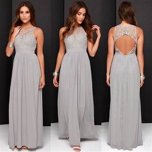 2016 spring grey chiffon lace bridesmaid dresses long a With plus size wedding party dresses