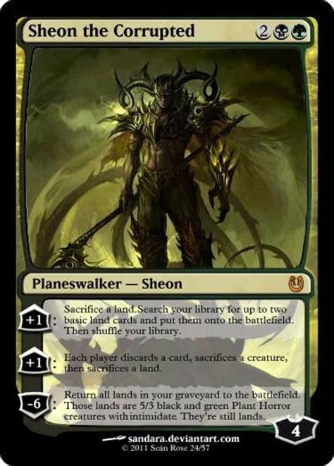sheon the corrupted black green planeswalker custom