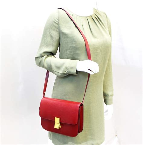 celine box calfskin medium classic box flap red crossbody bag