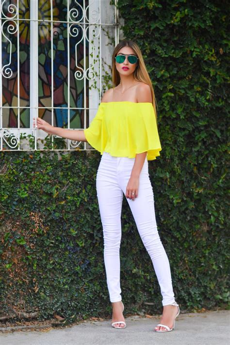 Off the shoulder outfit yellow top  white highwaisted jeans white and yellow outfit street ...