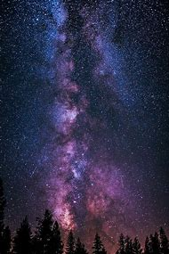 Galaxy Purple Night Sky Painting