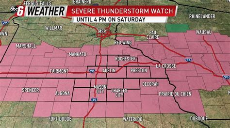 Severe Thunderstorm Watch For Saturday | KAALTV.com