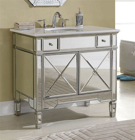 Mirrored Bathroom Vanity Sink by This Adelina 36 Inch Mirrored Silver Bathroom Vanity Will