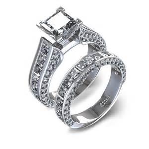 princess cut wedding set 3 9 10 ctw channel set princess cut wedding set 14k white gold