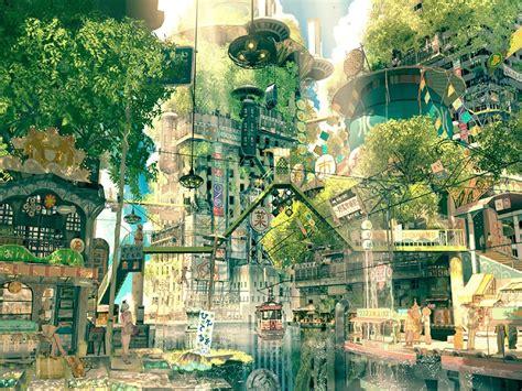 Digital Art Japan Fantasy Art City Street Trees