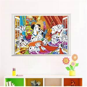 3d window cartoon dalmatian dog butterfly flower wall ...