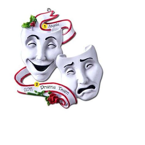 personalized christmas ornament theatre masks acting drama