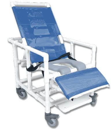 healthline pvc bariatric reclining shower commode chair