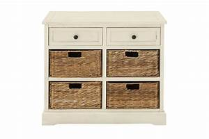 Updated Traditional Wood Cabinet With 4 Wicker Basket