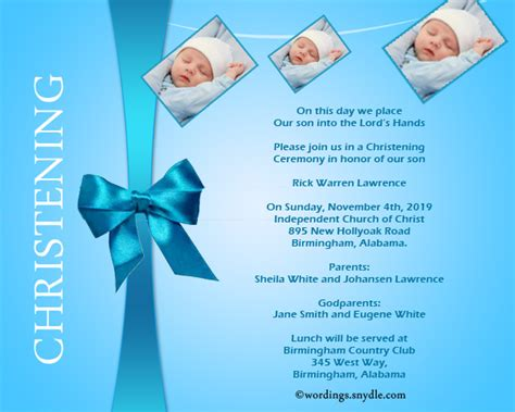 Christening Invitation Wording Samples - Wordings and Messages