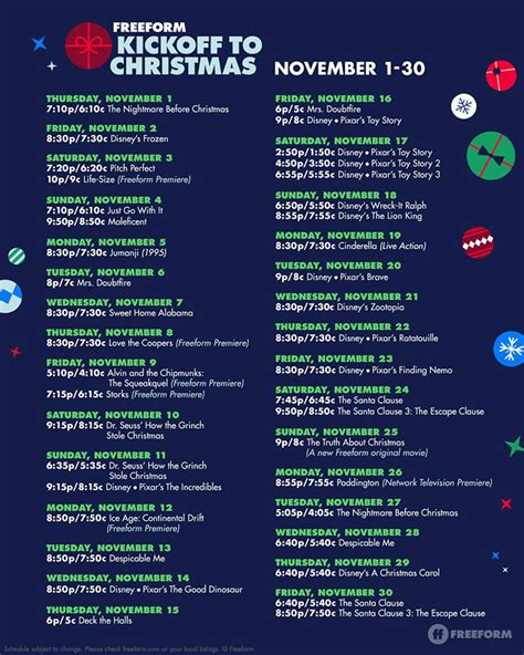 freeforms kickoff christmas schedule announced allearsnet
