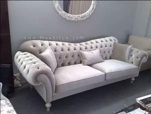Velvet, Chesterfield, Seat, Sofa, In, Cream, High, Quailty