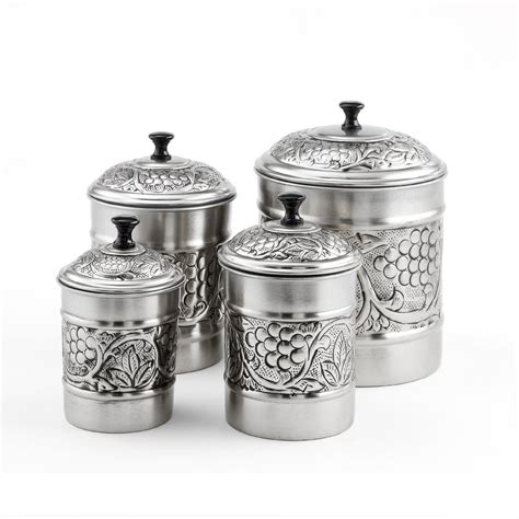 Kitchen Canisters Pewter by 4 Antique Pewter Embossed Quot Heritage