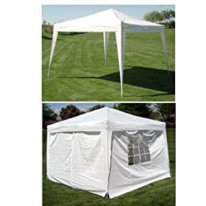 amazoncom     ez pop set  canopy tent gazebo includes  sidewalls white sports