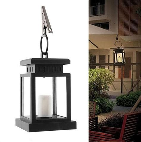 solar powered hanging candle lanterns yellow solar l