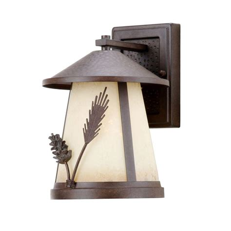 hton bay lodge 1 light weathered spruce outdoor wall