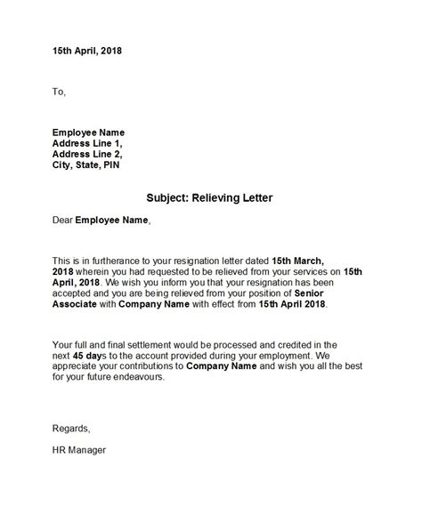 relieving letter format  ms word fresh job resign
