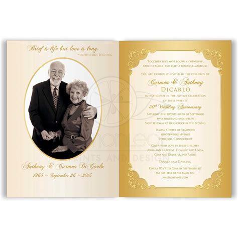 50th Wedding Anniversary Invitation Double PHOTO Ivory