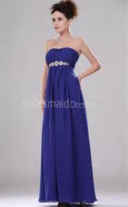 bridesmaid dresses in royal blue a line royal blue chiffon strapless floor length with beading bridesmaid dresses ukbd03 451