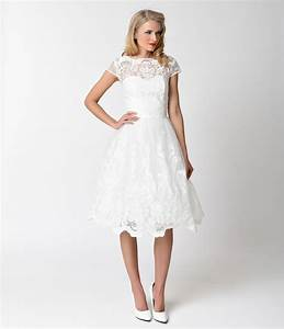 here are 22 affordable retro inspired wedding dresses that With white swing dress wedding
