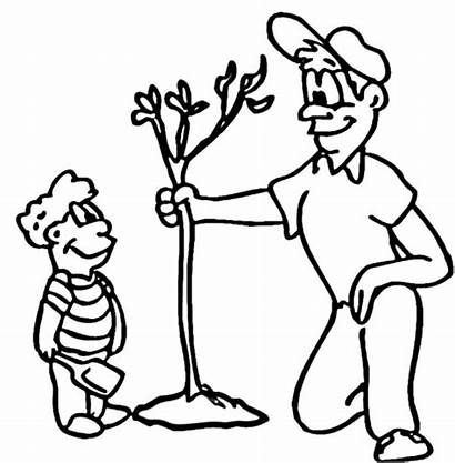 Coloring Take Arbor Father Son His Growing