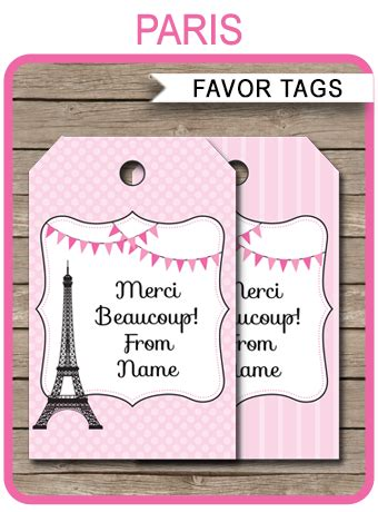 paris party favor tags   tags birthday party