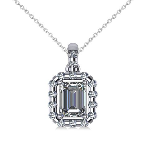 Emeraldcut Diamond Halo Pendant Necklace 14k White Gold 1. Fine Jewelry Stores Online. Turbion Watches. Jade Bracelet Beads. Cancer Support Bracelet. Protector Rings. Diamond Band Rings. Blue Rubber Bracelet. Gemini Rings