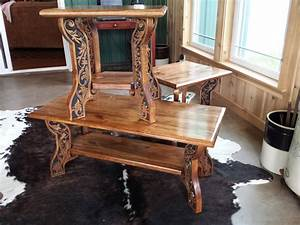 western style coffee and end tables carved wood features With country style coffee tables and end tables