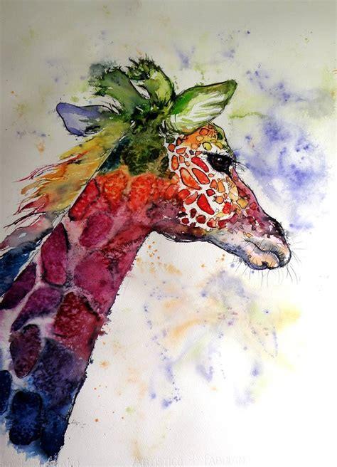 funny giraffe painting  kovacs anna brigitta saatchi art