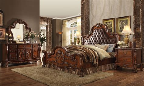 pc acme dresden tufted bedroom set  cherry finish