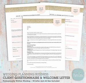 Wedding planner client questionnaire and welcome letter for Wedding planner welcome letter