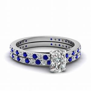 cushion cut petite diamond wedding ring set with sapphire With cushion cut diamond wedding ring sets