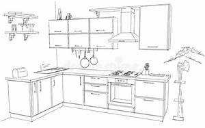 Sketch Abstract Outline Drawing Of Modern Corner Kitchen