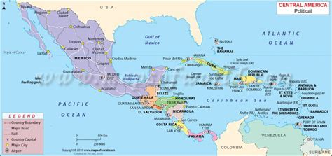 central america map places  visit central america