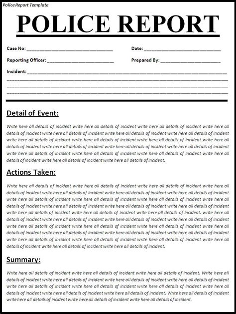 free crime reports free printable police report template form generic