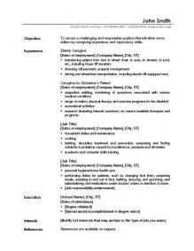 resume templates for caregivers caregiver professional resume templates free sle