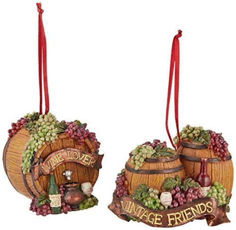 wine barrel christmas tree kurt adler 2 3 4 inch resin 3d wine barrel ornament set