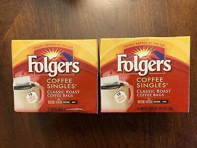 Our folgers coffee singles are only available in a medium roast. Folgers Coffee Singles Medium. 2 packs of 19 bags = 38 Total. EXP 05/2019. 740931684237   eBay