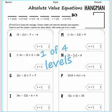 Absolute Value Equations Hangman By Algebra Simplified Tpt