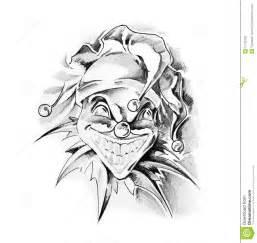 sketch of tattoo clown joker stock photos image