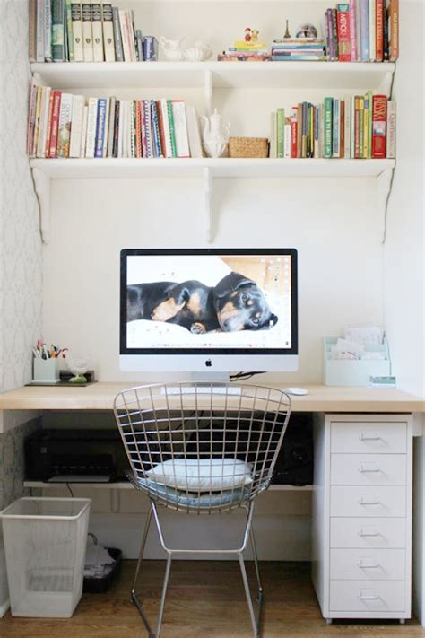 shelves above computer desk office alcove desk pictures decorations inspiration and