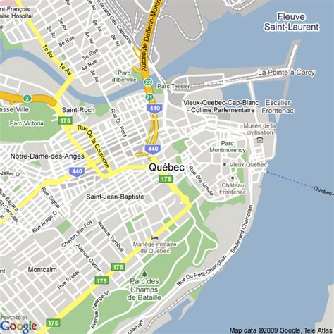 map  quebec city canada hotels accommodation