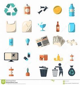 Waste Sorting Of Garbage Types Set Vector. Cartoon Vector ...