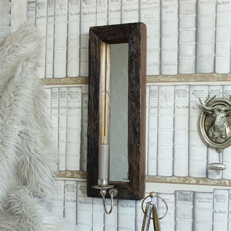 Candle Wall Sconces With Mirror - wooden wall mirror with candle sconce melody maison 174